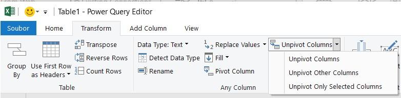 Unpivotovat - PowerQuery v Excel | Školení konzultace