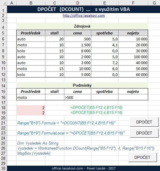how to use dcount in excel