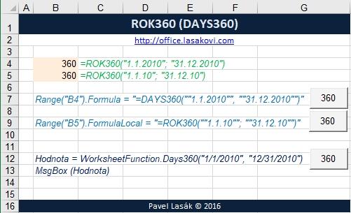 ROK360 (DAYS360) - počet dní - Excel | Školení konzultace