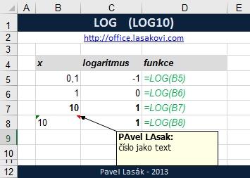 LOG (LOG10) - dekadický logaritmus - Excel | Školení ...