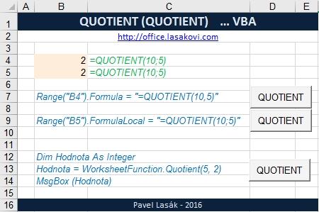 QUOTIENT - celá část po dělení - Excel | Školení konzultace