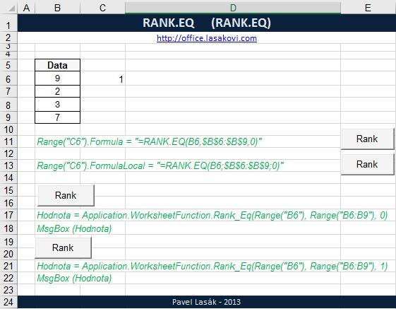 RANK.EQ pořadí argumentů - statistická funkce Excel ...