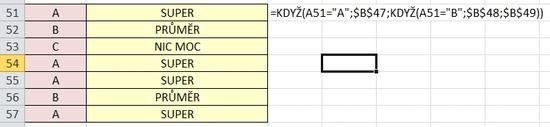 KDYŽ - funkce logická - MS EXCEL
