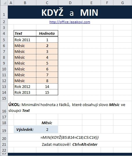 Praktické použítí funkce KDYŽ v Excel