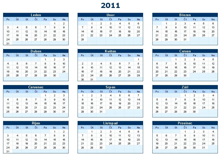 Kalendář - šablona ke stažení zdarma