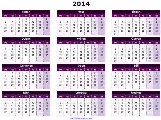 ro u010dn u00ed kalend u00e1 u0159 2014