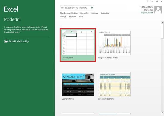 MS Excel 2013 - Úvodní okno Excelu
