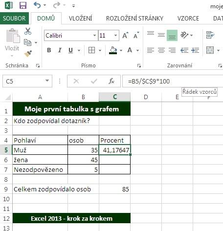 MS Excel 2013 - výpočet v buňce