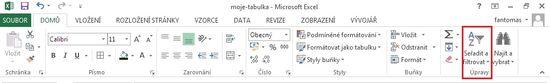 MS Excel 2013 - karta filtr