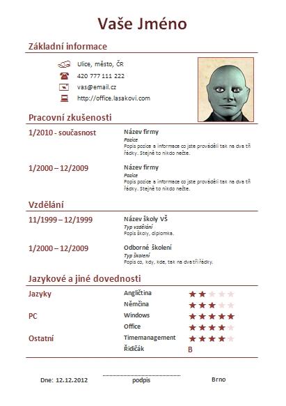 Životopis šablona pdf