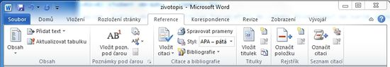MS Word 2010 - karta reference