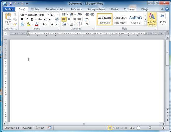 MS Word 2010 - první spuštění