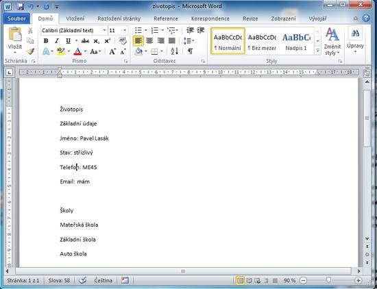 MS Word 2010 - první text
