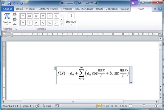 MS Word 2010 - rovnice