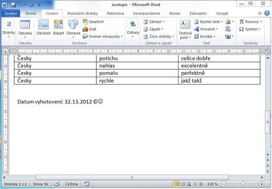 MS Word 2010 - karta vlozeni sekce symboly