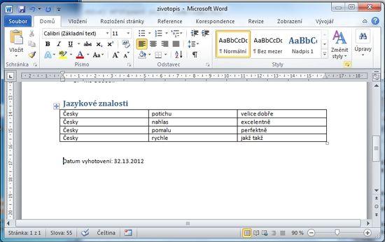 MS Word 2010 - hotovo tabulka
