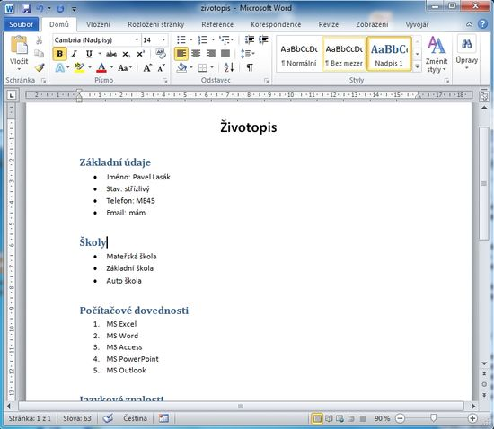 MS Word 2010 - styly hotovo